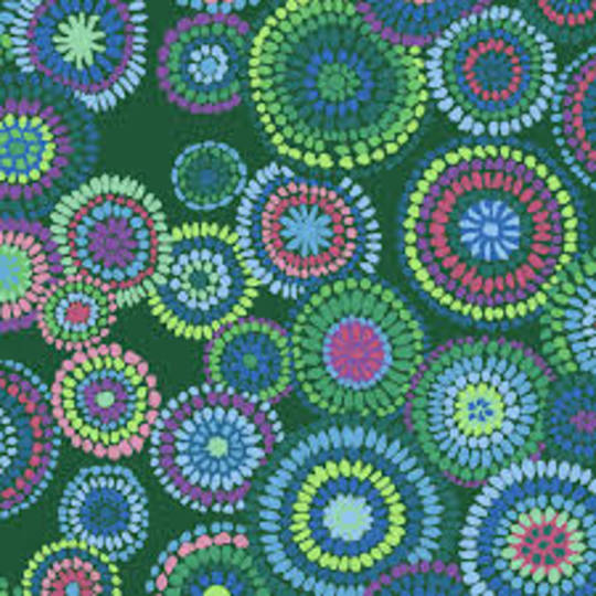 Fabric-Kaffe Mosaic flower- green