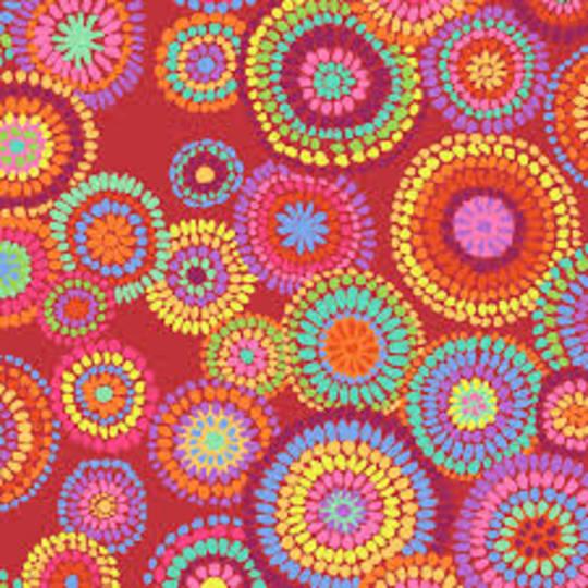 Fabric-Kaffe Mosaic flower- red