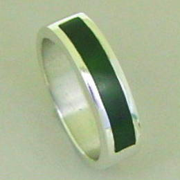 Mens ring , style R286 set with NZ greenstone, or Pounamu, in a Stg.Silver band.
