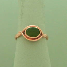 R239 Pounumu NZ greenstone set on a koru band in Rose Gold