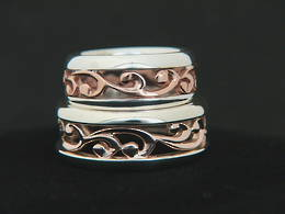 R251 Rose Gold and Stg. Silver carved koru band set