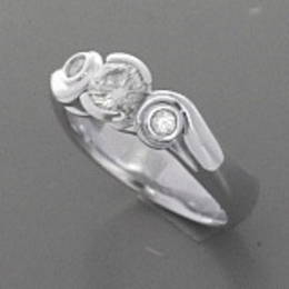 R280 Koru ring  set with Diamonds in White Gold.
