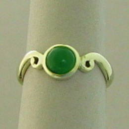 Pounamu NZ Greenstone  on a Koru band set in white gold