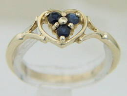 Gold Sapphire and Heart Ring