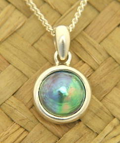 P58 Silver and 10mm. Paua Pearl Pendant