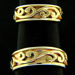 R251a  Gold Koru wedding bands