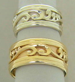 Extra wide Silver or gold Carved Koru Bands