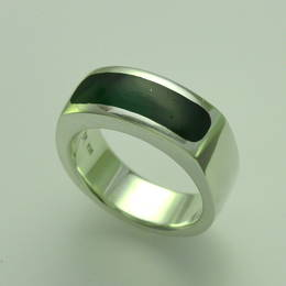 Mens ring , style R286H set with Pounamu, NZ Greenstone in a Stg.Silver band.