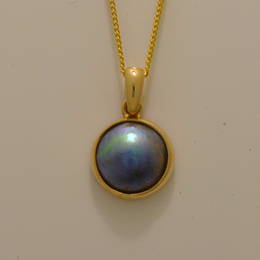 P58 Gold and 10mm. Paua Pearl Pendant
