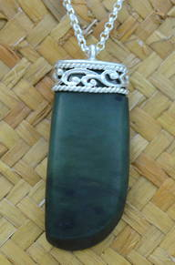 Greenstone and Stg. Silver Adze or Toki Pendant