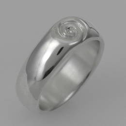 R343 Mens Heavy Silver koru band