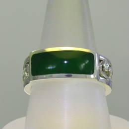 Wedding ring with carved koru design, Pounamu, NZ Greenstone and Stg.Silver.
