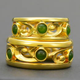 Pounamu NZ Greenstone and koru wedding ring set in Yellow Gold