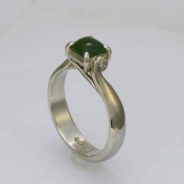 Style R292DGD Pounamu and Diamond Set  Engagement Ring