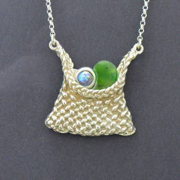 P57b Silver Kete with  Paua Pearl and NZ greenstone