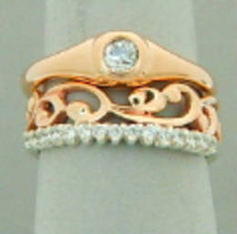 R329 Diamond set  Engagement ring in Rose Gold