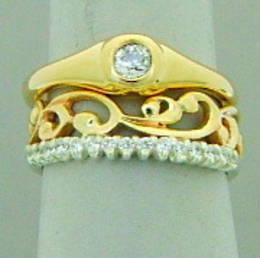 Fitted gold carved koru wedding band diamond set