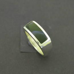 R333 Mens wedding ring, Pounamu NZ greenstone, and Stg.Silver.