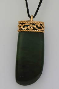 Greenstone and Rose gold Adze or Toki Pendant