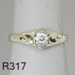 R317 Diamond set Koru band in White Gold
