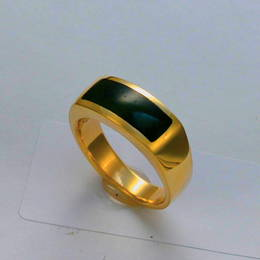 R333 Mens wedding ring, Pounamu NZ greenstone, and Yellow gold.