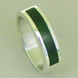 Mens ring set with NZ greenstone, or Pounamu, in a Stg.Silver band.