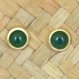 Pounamu or NZ Greenstone and gold stud earrings