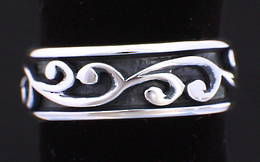 R251a Silver Carved Koru Band