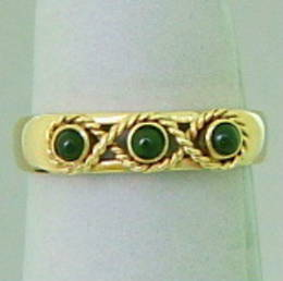 R325 The Celtic Kiwi, Pounamu NZ Greenstone with Pikorua, or  Eternity Platt design  in Yellow gold .