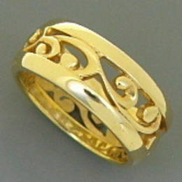 R251 Mens (wide) carved koru band in Yellow Gold