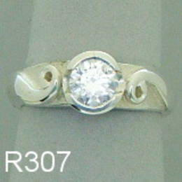 R307 Diamond and koru engagement ring