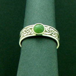 The Celtic Kiwi, Pounamu New Zealand Greenstone,  on a Stg.Silver Celtic knot band.