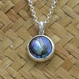 P58MB Silver and 12mm. Paua Pearl Pendant