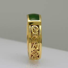 R351K Wedding ring with carved  kowhaiwhai design, Pounamu, NZ Greenstone and gold.