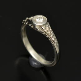 R329  Diamond set, Hand engraved, Manuka blossom with flax,  in White Gold.