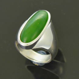 R80 Pounamu NZ Greenstone  set in Stg. Silver.