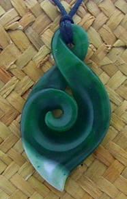 Greenstone Koru and twist Pendant