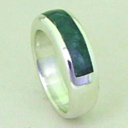 R 295 New Zealand Greenstone and Silver Wedding band