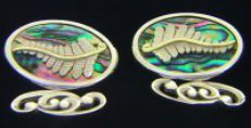 oval paua and gold  cuflinks(copy)