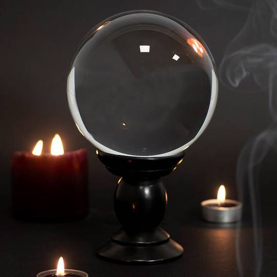Clear Large Crystal Ball on Wooden Stand 130mm