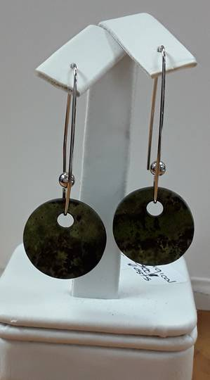 GreenStone Disc Earrings