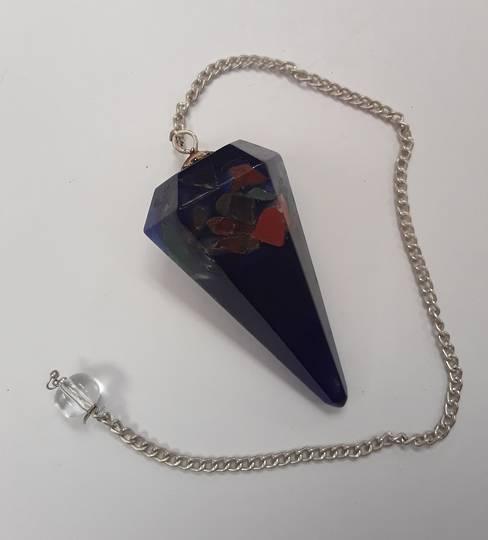 Multistone Blue Orgonite Pendulum