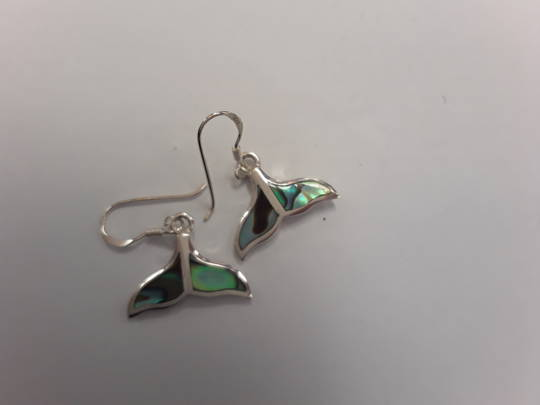 Silver Whale Tail Paua Inlay Earrings