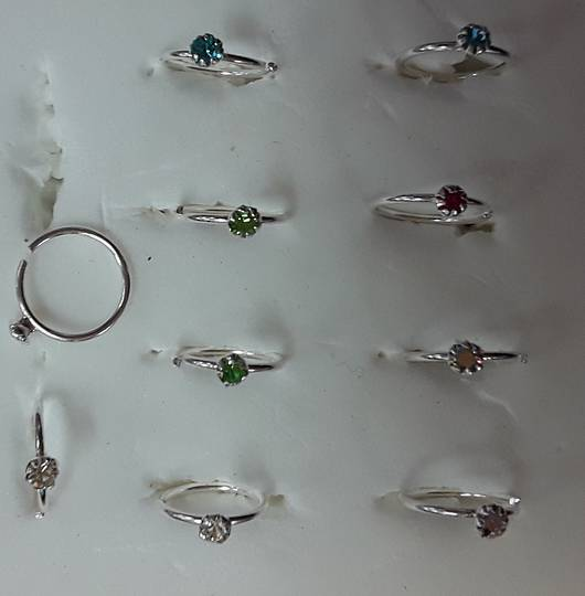 Sterling Silver AB CZ Jewelled Nose Ring 7mm