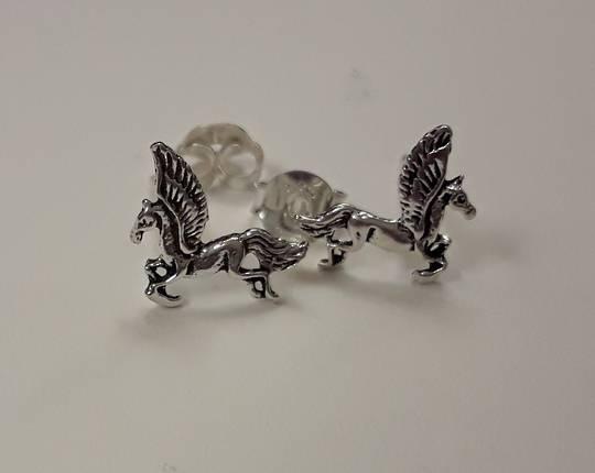 Silver Pegasus Studs