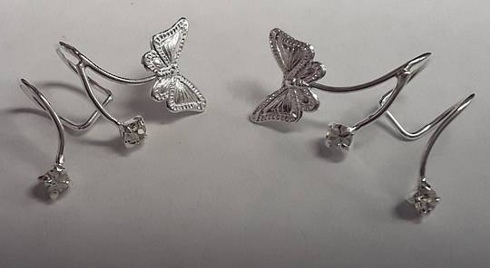 Sterling Silver Butterfly Wrap Around Ear Cuffs