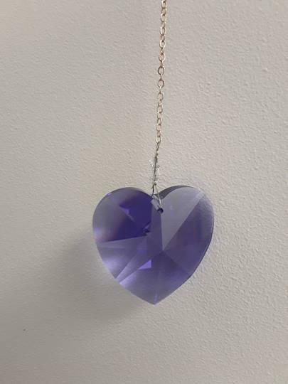 Purple Swaroski Crystal Heart