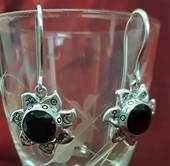 Black Spinel Planet Earrings