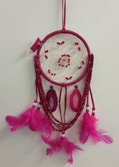 Cerise Beads and Agate Dreamweaver Dreamcatcher