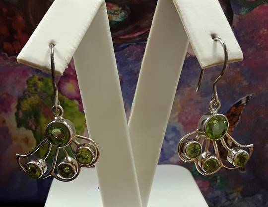 Sterling Silver Peridot Wing Earrings